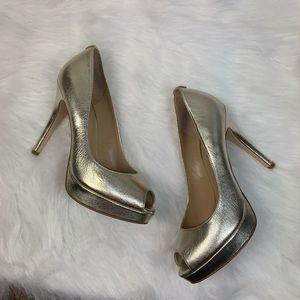 Michael Kors York Gold Peep Toe Heels Platform 8